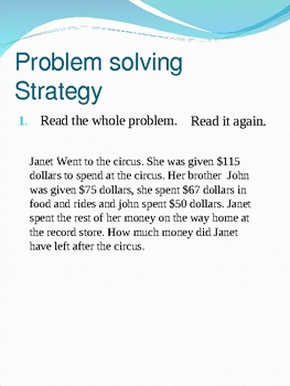 Word Problem solving strategy