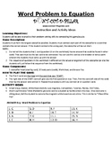 Word Problem to Equation Game Puzzle with Worksheet