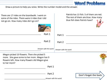Word Problems 1 & 2 step Worksheets 2nd Grade