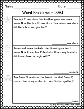 Word Problems 1.OA.1 / 1.OA.A.1 FREE
