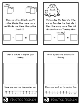 Word Problems 1.OA.1 COMPARING Mini Flip Book Foldable