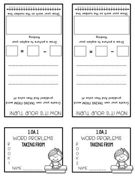 Word Problems 1.OA.1 Bundle Mini Flip Book Foldable