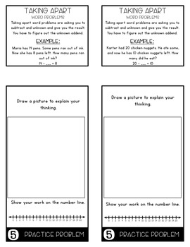 Word Problems 1.OA.1 Taking Apart Mini Flip Book Foldable