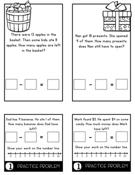 Word Problems 1.OA.1 Taking From Mini Flip Book Foldable
