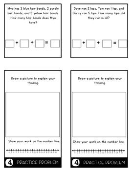 Word Problems 1.OA.2 3 Addends Mini Flip Book Foldable