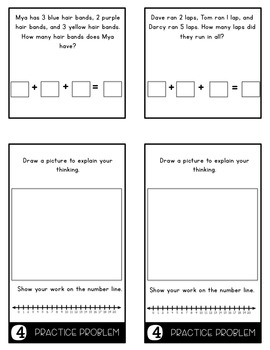 Word Problems 1.OA.2 3 Addends Mini Flip Book Foldable