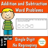 Single Digit Addition and Subtraction Word Problems with No Regrouping.