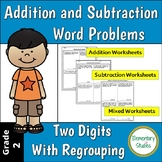 Two digits addition and subtraction word problems with regrouping