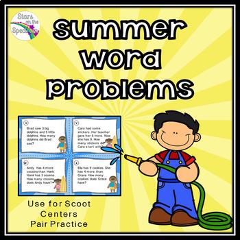 Summer Word Problems (Math Task Cards)