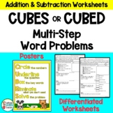 CUBES Math Strategy Worksheets for Multi-Step Addition and