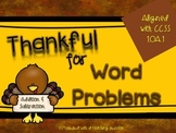 Thanksgiving Fall Word Problems CCSS 1.OA.1