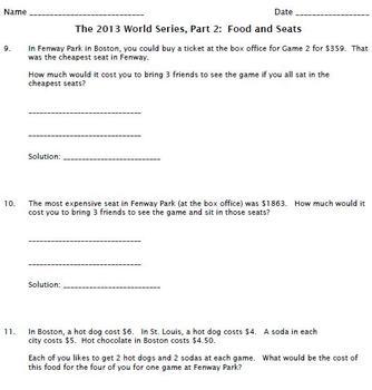 Word Problems -- 2013 World Series
