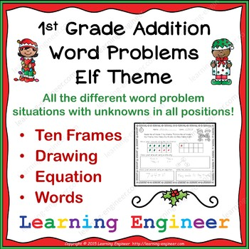 1st Grade Math Center (Addition Word Problems) Elf Theme
