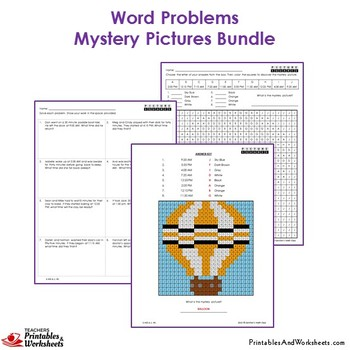3rd Grade Word Problems, Third Grade Mystery Pictures Bundle