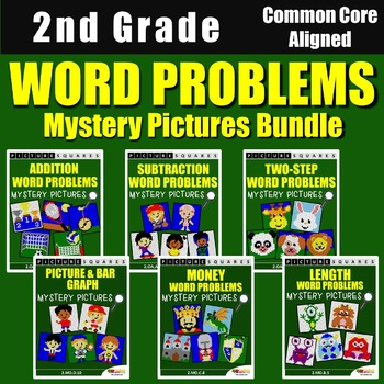 2nd Grade Math Homework, Word Problems Mystery Pictures Bundle