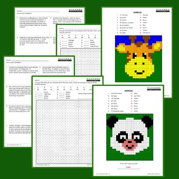 2nd Grade Word Problems Centers, Mystery Picture Coloring Worksheets