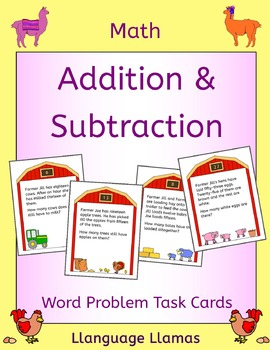 Farm Addition and subtraction word problem task cards