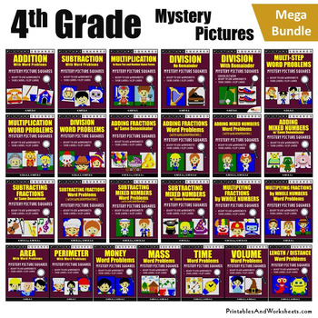 4th Grade Mystery Pictures Bundle, Includes 4th Grade Math Word Problems
