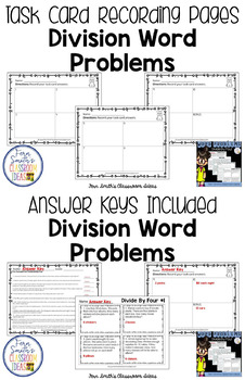 Word Problems 3rd Grade Divide By Four Printables, Task Cards and Assessments