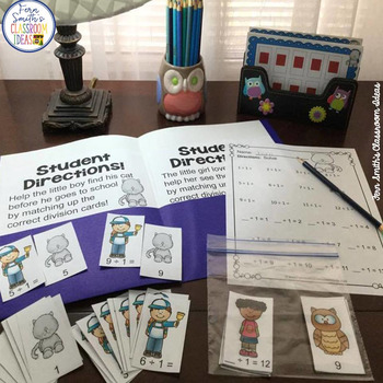 3rd Grade Go Math Divide By 1 Task Cards Centers Color By Number & Word Problems