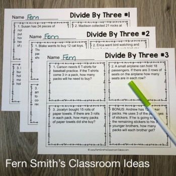 3rd Grade Go Math 7.4 Divide By Three Word Problems, Task Cards & Assessments