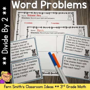 3rd Grade Go Math 7.1 Divide By Two Word Problems, Task Cards & Assessments
