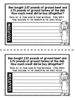 Addition and Subtraction of Decimals Word Problems - 5th Grade Math Notebook