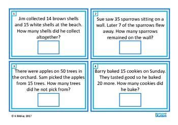 Word Problems Add & Subtract Double Digits, Autism, Special Education