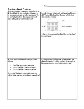 Word Problems: Adding & Subtracting Unlike Fractions