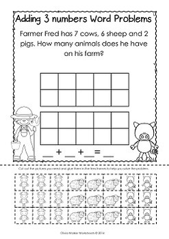 Word Problems - Adding Three or More Numbers - Cut and Paste Workseets