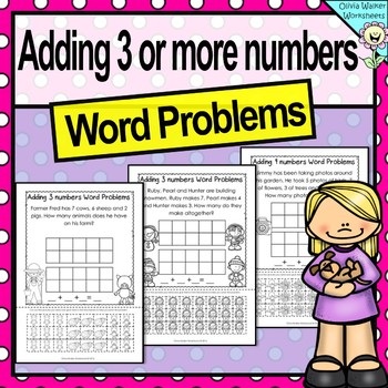 Word Problems - Adding Three or More Numbers - Cut and Pas