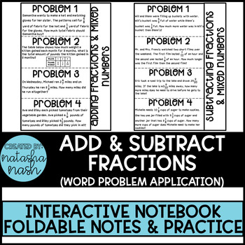 Word Problems: Adding and Subtracting Fractions and Mixed Numbers (2 Foldables)
