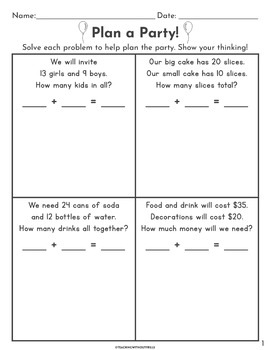 Word Problems- Adding tens and ones- On-level and Advanced (EnVision Topic 20)