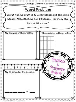 Word Problems - Addition-Change Unknown - First Grade!