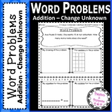 Word Problems - Addition-Change Unknown - First Grade!