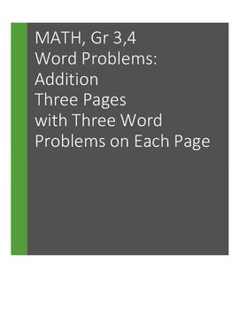 Word Problems: Addition. Grades 3, 4: 9 problems