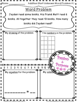 Word Problems - Addition Start Unknown - First Grade!