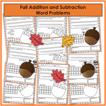 Fall Worksheets - Addition and Subtraction Word Problems