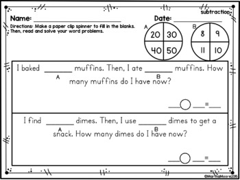 Word Problems Addition & Subtraction:  2.OA.A.1 Common Core Second Grade Math