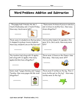 Guided Math 2nd Grade Word Problems Addition & Subtraction CCSS