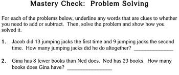 Word Problems, Addition & Subtraction - Individualized Math - worksheets