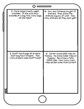 Word Problems: Addition, Subtraction, Multiplication and Division