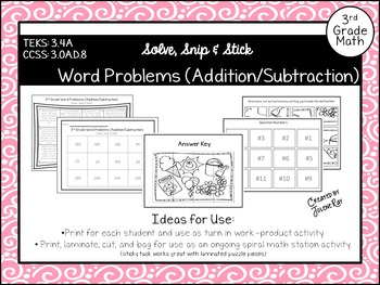 Word Problems (Addition/Subtraction): Solve Snip & Stick: TEKS 3.4A