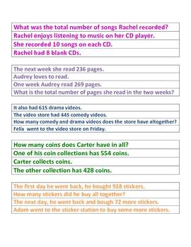 Word Problems Addition Test Prep