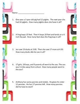 Word Problems- Addition and Subtraction