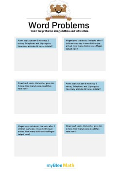 Word Problems - Addition and Subtraction -1st-3rd grade