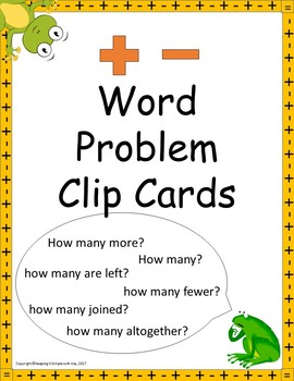Word Problems Addition and Subtraction Clip Cards