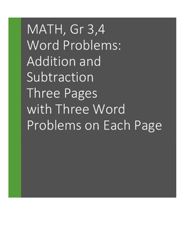 Word Problems: Addition and Subtraction. Grades 3, 4: 9 problems
