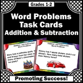 Word Problems Addition and Subtraction Task Cards, 1st 2nd Grade Math Centers
