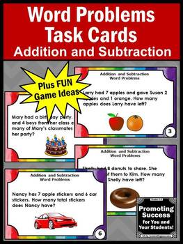 Addition and Subtraction Word Problems Task Cards, 1st 2nd Grade Math Review